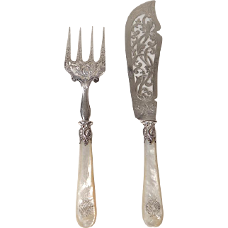Antique french sterling silver and mother of pearl fish set, coat of arms, 19th century