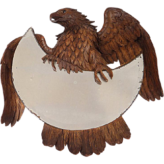 Antique Black Forest hand carved mirror, eagle, 19th century