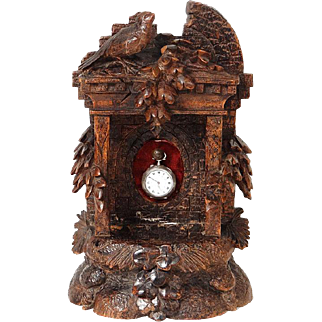 Antique Black Forest carved wood watch stand, bird and fountain, 19th century