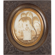 Antique fine french hair art Memento, ebonite frame, 19th century