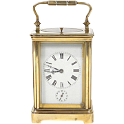 Antique french golden bronze officer travel clock, 19th century