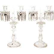 Pair of Baccarat crystal candelabra with pendants, 2 lights, Medaillon, 20th century