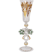 Antique Murano italian glass, flowers and gilding, 20th century