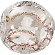 Rare french faceted cut crystal St. Louis paperweight, portrait King St Louis, 20th century
