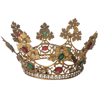 Antique french gilded brass Crown or Tiara, paste stones and strass, 19th century