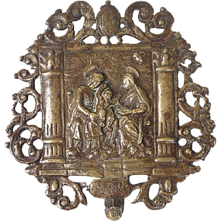 Antique bronze plaque bas-relief, Saint Anna with the Holy Virgin Mary And the Christ Child, Moderno Italy, 16th