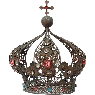 Antique french gilded brass Crown, paste stones and strass, 19th century