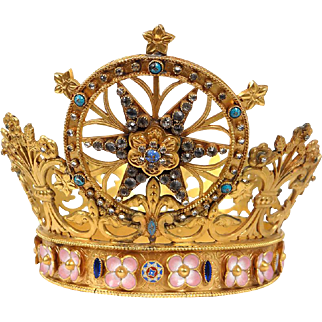 Antique french golden bronze religious Crown, paste stones and enamel, 19th century