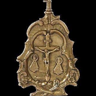 Antique golden bronze pax-board, Spain, 16th century