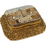 Antique little box, golden brass and micro mosaic, St. Peter's Square at Rome, 19th