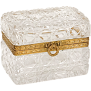 Antique french cut crystal casket, with gilded bronze mounting, 19th century