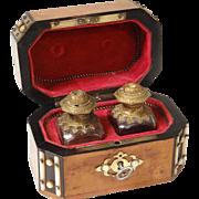 Antique french scent casket, two bottles of perfume, Maison Giroux Paris, 19th