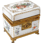 Antique french white opaline and golden brass casket, era Charles X 19th century