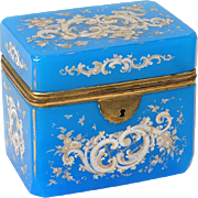 Antique french blue enamelled opaline and golden brass casket, era Charles X 19th century
