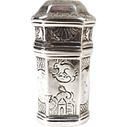 Antique french sterling silver wax case, 18th century