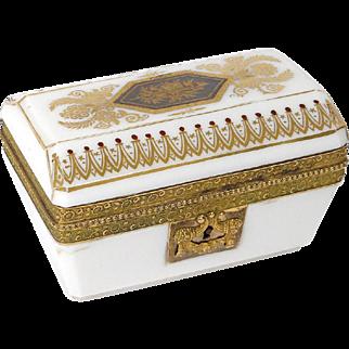 Antique french white opaline and golden bronze casket, era Restauration 19th century