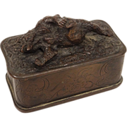 Antique french bronze box/casket, signed Fratin, with a bear, 19th century