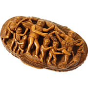 Antique french carved corozo nut snuffbox, children or putti, 19th