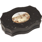 Antique Grand Tour marble and micro mosaic plaque or paperweight, Saint Peter's Place and Basilica in Rome, 19th