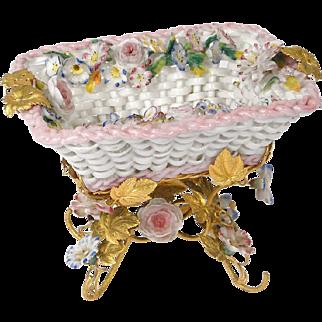 Antique french decorative Paris porcelain basket, signed Jacob Petit, 19th century