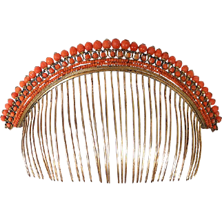 Antique French Empire Tiara & Comb, Red Coral and gilded silver, Crown/ Diadem, 19th