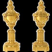 Antique Louis XVI french pair of cassolettes / candlesticks, in gilded bronze, era   Napoleon III 19th century