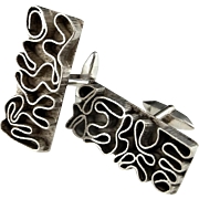 Alien Writing Iconic Modernist Huge Jackson Pollack Maze Design 1970s Hand Made Sterling 925 Silver Cufflinks Cuff Links Custom Rare Unique