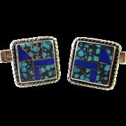 Mid Century Turquoise Silver Cufflinks Cuff Links Unique Sterling Cufflinks Handmade Men's Cufflinks Retro Estate Cufflinks Genuine Turquoise Lapis Lazuli Cufflinks