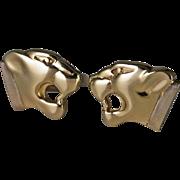 Panther Jaguar Men's Gold Cufflinks 8K 333 German Rare 1960s 1970s Vintage Cuff Links Fine Cufflinks Roaring Panther Jaguar Leopard Fine Cufflinks