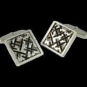 Houndstooth Modernist Silver Cufflinks Mid Century Men's Cufflinks Cufflinks One of a Kind Cufflinks Retro 1950s 1960s Estate Cufflinks
