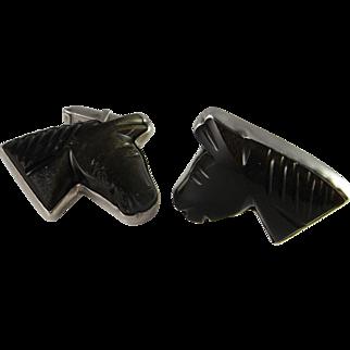 Obsidian Horses Men's Unique Vintage Cufflinks Mid Century Cufflinks Sterling CuffLinks Silver 1950s Cuff Links