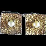 Hollywood Regency 1950s Silver Cufflinks Pearl Men's Cuff Links Solid Sterling Gold Plated Fine Mid Century Modernist 1950s Estate Cuff Links Cufflinks 925 Silver