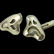 Funny Ghosts Comedy Tragedy Men's Unique Cufflinks Mid Century Cufflinks Modernist CuffLinks Silver 925 Sterling 1950s Cuff Links R2770
