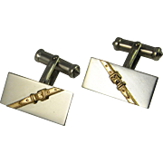 Unique Silver and Gold Men's Cufflinks in  14K Gold and Sterling  Mid Century Cufflinks One of a Kind Cufflinks Cuff Links Hand Made Retro Cufflinks