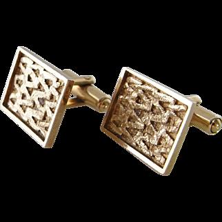Gold Cufflinks Gold Cuff Links Mens Cufflinks Modernist Cuff Links 1970s Jewelry Wedding Cufflinks Unique Cufflinks Vintage Cuff Links 9K