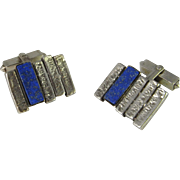 Lapis Unique Silver Mens Cufflinks MidCentury Modernist Cufflinks One of a Kind Cuff Links Unusual Cufflinks 800 Silver Cufflinks