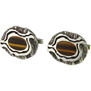 Tigers Eye Inlay Modernist Cuff Links Mens Cufflinks Mid Century Jewelry Minimalist Accessories Wedding Cufflinks Bridal Jewelry Silver Cufflinks Vintage Cuff Links 1950s 1960s 1970s Geometric Space Age Abstract Gift for Groom Unique Mens Jewelry