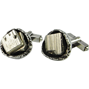 Classy Pyrite Crystals Unique One of a Kind Cufflinks Mid Century Cufflinks Modernist 1970s CuffLinks European Silver 835 Cufflinks