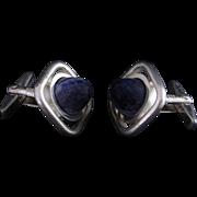 Classy Masculine 1970s Mid Century Modernist Sodalite Lapis Designer Signed Sterling Silver Hand Made Cuff Links Cufflinks