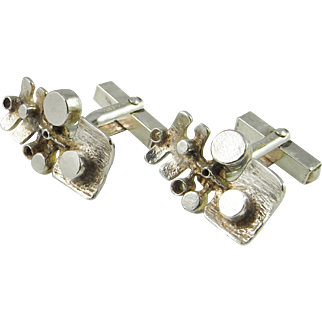 Unique One of a Kind Cufflinks Mid Century Cufflinks Modernist CuffLinks Hand Made European Silver 925 Sterling Classic Cufflinks