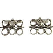 Sacred Geometry Unique One of a Kind Men's Cufflinks Mid Century Cuff Links Modernist 1960s 1970s European Silver 835 Classic Cufflinks