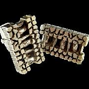 Rare  1960s 1970s Modernist Silver Cufflinks  Mid Century Brutalist Cufflinks Fine 835 Silver Cuff Links Men's Retro Vintage Silver Cufflinks Estate Jewelry