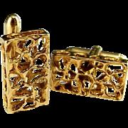 Space Design Extreme Rare Modernist Mid Century 9K 9ct Yellow Gold Designer Signed Custom Cuff Links Cufflinks Wedding Cufflinks Jewelry Groom Retro Luxury 1950s 1960s 1970s