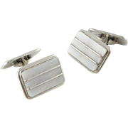 Mother of Pearl MOP Art Deco Men's Cufflinks Men's Cuff Links Unique Cufflinks Silver Cufflinks Modernist Jewelry  835 Silver