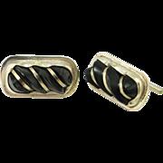 Carved Onyx Men's Vintage Cuff Links Sterling Silver Cufflinks Minimalist Mens Jewelry Modernist Cuff Links Wedding Cufflinks Unique
