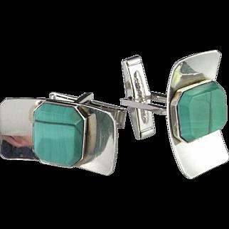 Custom 925 Cufflinks Mid Century Sterling Cufflinks Modernist Silver Cufflinks Cuff Links 1950s Hand Made Rare Malachite Cufflinks