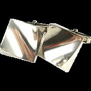 Classic Modernist Classy 925 Sterling Silver Hand Made Designer Signed Cufflinks Cuff Links 1970s Panton Era Vintage Rare