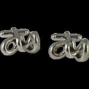 Sculptural Unusual Men's Sterling Cufflinks Mid Century Cufflinks Modernist CuffLinks Silver 1960s Cuff Links