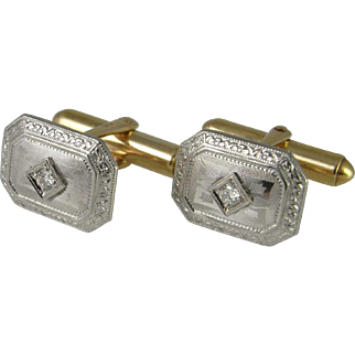 Diamond 14K Gold Art Deco Cuff Links 1930s Men's Cufflinks Wedding Cuff Links Unique One of a Kind Cufflinks Engraved Cufflinks Gatsby Wedding Groom Anniversary Gift 1920s 1930s 1940s Downton Abbey Accessories
