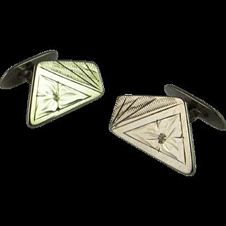Asymmetric Engraved 1920s Cufflinks Unusual Unique One of a Kind Cufflinks Art Deco Cufflinks Cuff Links Modernist 835 Silver Antique